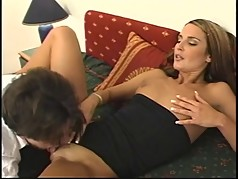 Sexy brunette MILF gets fucked in the ass on fold out bed