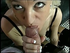 Mature blond cowgirl in black lingerie sucks and fucks stud on leather couch