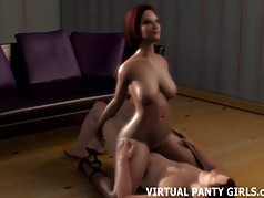3d redhead MILF riding the hung neighbor boy