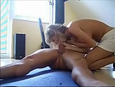 Blonde MILF with big boobs rides my dick