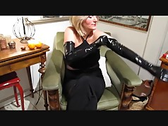 Lady Putting on Latex Gloves