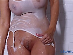 Sexy Milf Julia Ann Lathers Her Big Tits in Shower!