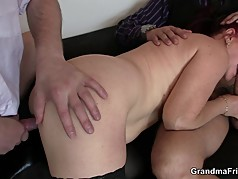 Business lady spreds her old pussy for 2 cocks