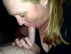 MILF whore sucking strangers cock at home