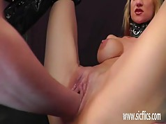 Brutally fisting and dildo fucking hot wife