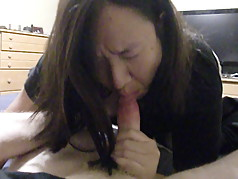 asian wife blowjob and swallow