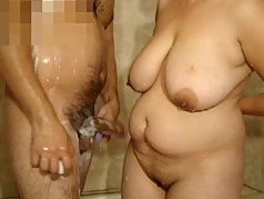 Mature woman with big tits and Me in the shower