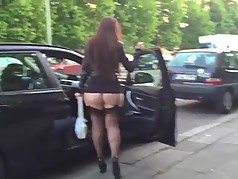 Malene walking of Berlin in FF stockings and High Heels