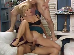 Unbelievable blonde milf gets good fucking from two men