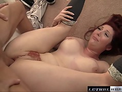 MILF Lauren gets her fire red pussy fucked hard