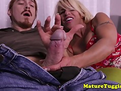 Beautiful busty milf wanking off cock pov