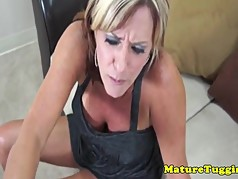 Tanlined milf Felicity Rose tugs and titfucks