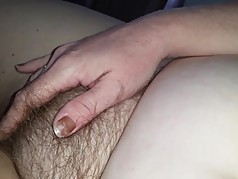 wife rubbing her own hairy pussie & tits
