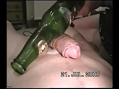 Women pulls bottle out of pussy and see all the pussy cream