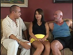 Asian chick double-penetrated